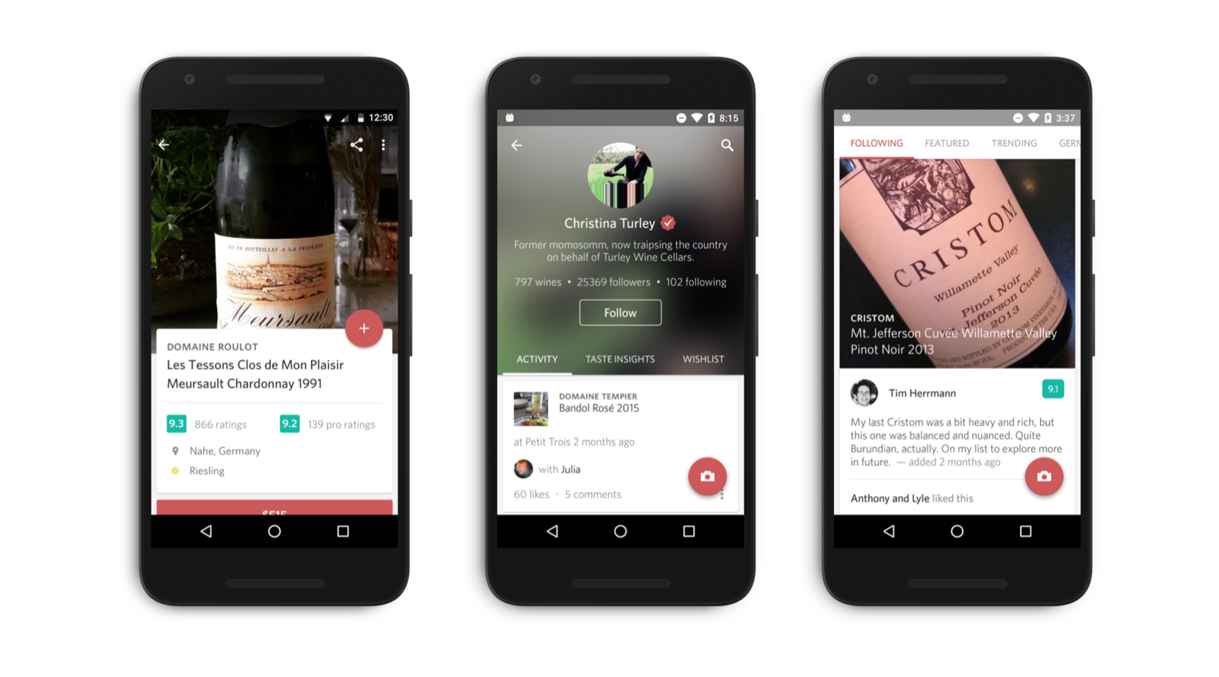 Showcase of Delectable on Android's user interface