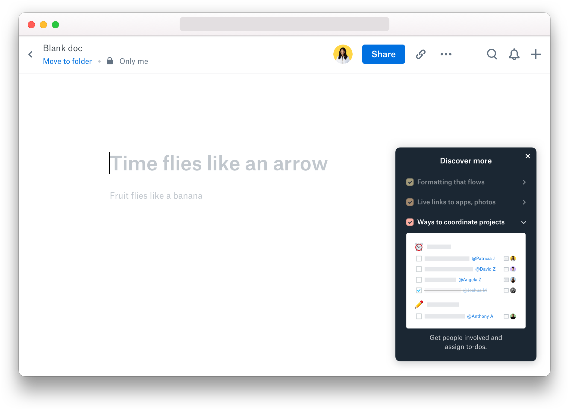 Menu showing how to get started in Dropbox Paper